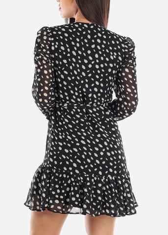 Black Wrap Front Polka Dot Dress