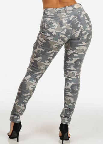 Camo Print Mid Rise Skinny Jeans