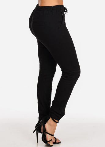 Women's Junior Ladies Mid Rise Moto Design Style Black Jogger Pants