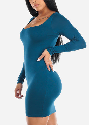 Long Sleeve Teal Midi Dress
