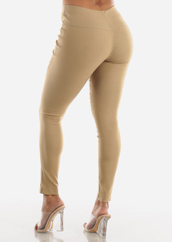 Image of High Waisted Khaki Moto Skinny Pants