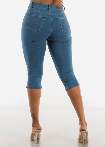 Image of Light Blue Mid Rise Capris