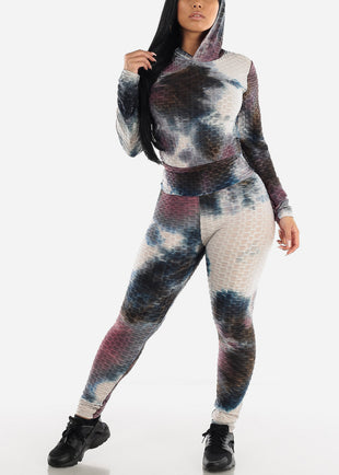Anti Cellulite Tie Dye Burgundy Hoodie & Leggings  (2 PCE SET)