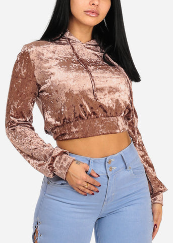 Brown Velvet Long Sleeve High Neck Cropped Sweater
