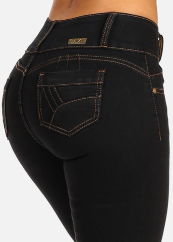 Black Mid Rise Butt Lifting Levanta Cola 5 Pocket Design Skinny Jeans