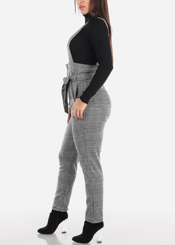 Image of Houndstooth Overall Jumpsuit