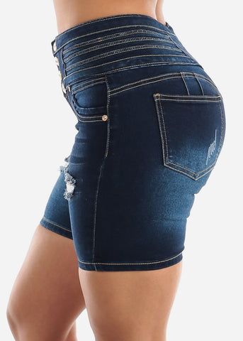 Butt Lifting High Waisted Ripped Denim Shorts