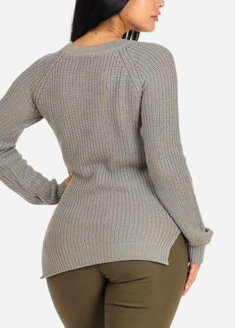 Image of Stylish Long Sleeve V Lace Up Neckline Side Slits Knitted Grey Sweater Top