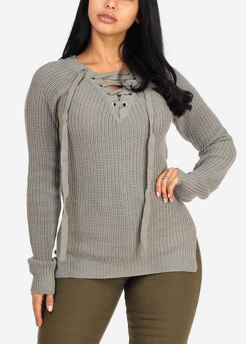 Stylish Long Sleeve V Lace Up Neckline Side Slits Knitted Grey Sweater Top