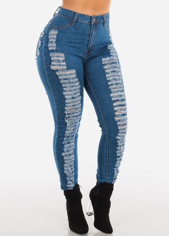 Image of Two Sided Distressed High Rise Jeans