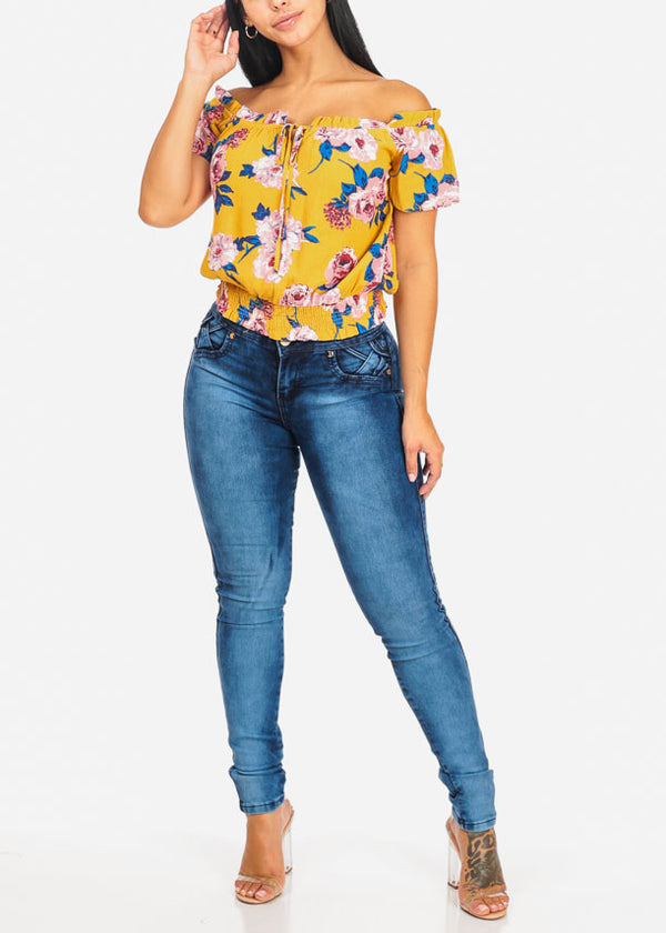 Dark Wash Butt Lifting High Waisted Skinny Jeans
