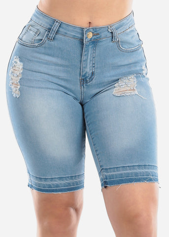 Image of Mid Rise 1 Button Ripped Torn Distressed Light Wash Bermuda Shorts For Women Ladies Junior