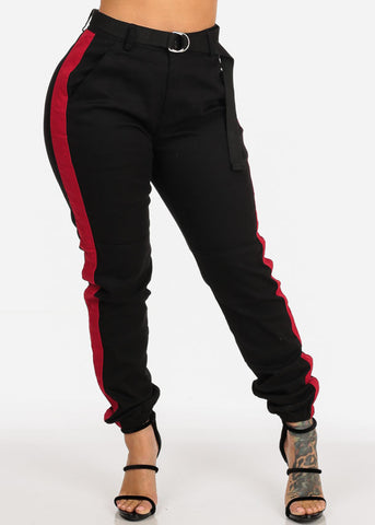 Image of Belted High Rise Black Stripe Jogger Pants