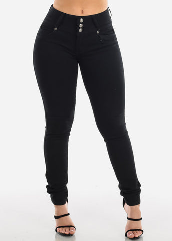 Butt Lifting Levanta Cola Mid Rise Solid Black 3 Button Skinny Jeans