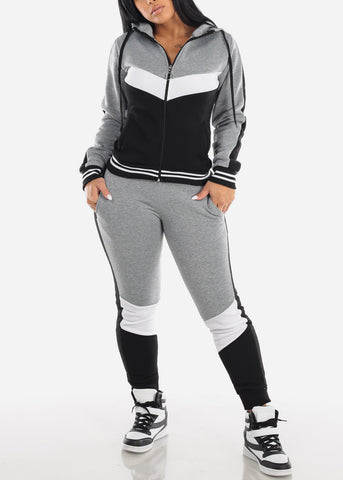 Grey Colorblock Jacket & Jogger Pants (2 PCE SET)