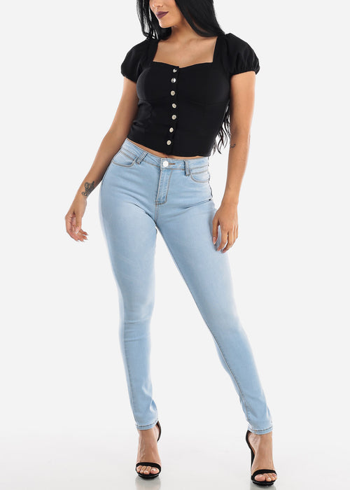 High Rise Levanta Cola Light Skinny Jeans
