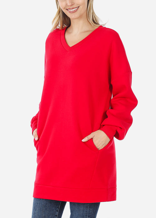 Oversized Round Neck Ruby Sweatshirt