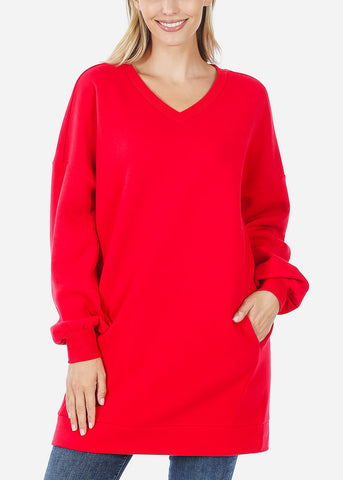 Image of Oversized Round Neck Ruby Sweatshirt