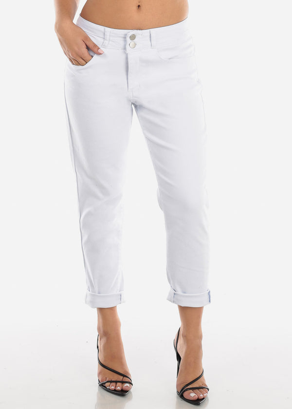 High Rise White Ankle Jeans