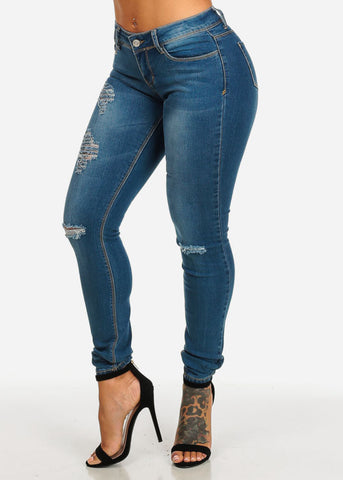 Image of Low Waist Ripped Med Wash Skinny Jeans