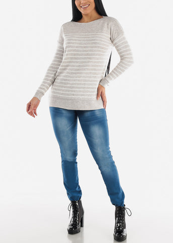 Med Blue Wash Skinny Jeans with Sanding Details