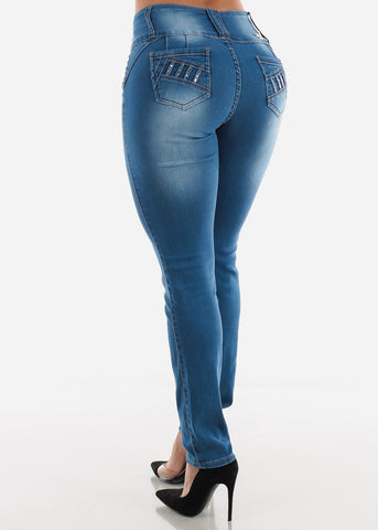 Image of Med Blue Wash Skinny Jeans with Sanding Details