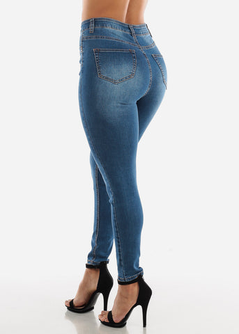 Ultra High Waisted Med Wash Skinny Jeans