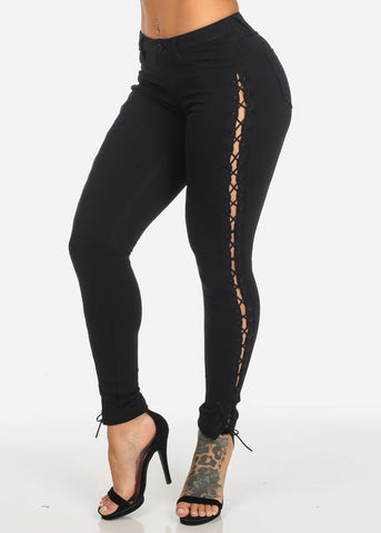 Black Low Rise Side Lace Up Skinny Pants