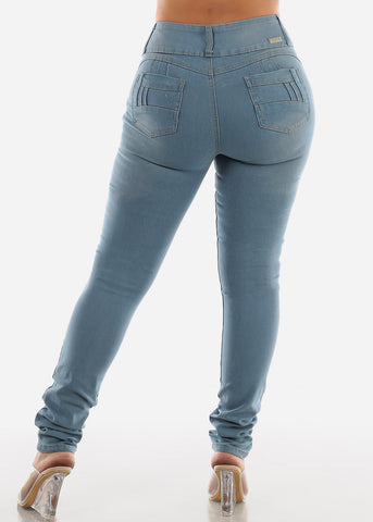 Image of Light Wash Denim Levanta Cola Skinny Jeans SIZE 13-15-17