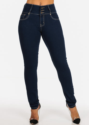 Dark Wash Butt Lifting Mid Rise Levanta Cola Skinny Jeans