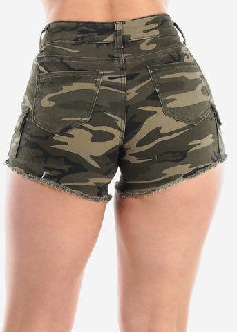 Sexy Cute Cargo Style Camouflage Army Print Denim Shorts For Women Ladies Junior Vacation Trip Trendy 2019 New