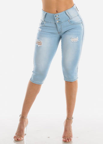Torn Butt Lifting Light Wash Denim Capris
