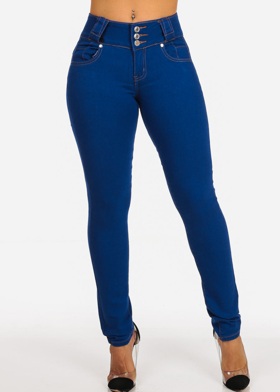Mid Rise Butt Lifting Light Denim Skinny Jeans
