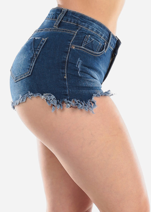 Sexy 1 Button Mid Rise Distressed Raw Hem Dark Wash Denim Jean Booty Shorts For Women Ladies