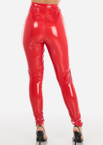 Image of Glossy Pleather Red Pants