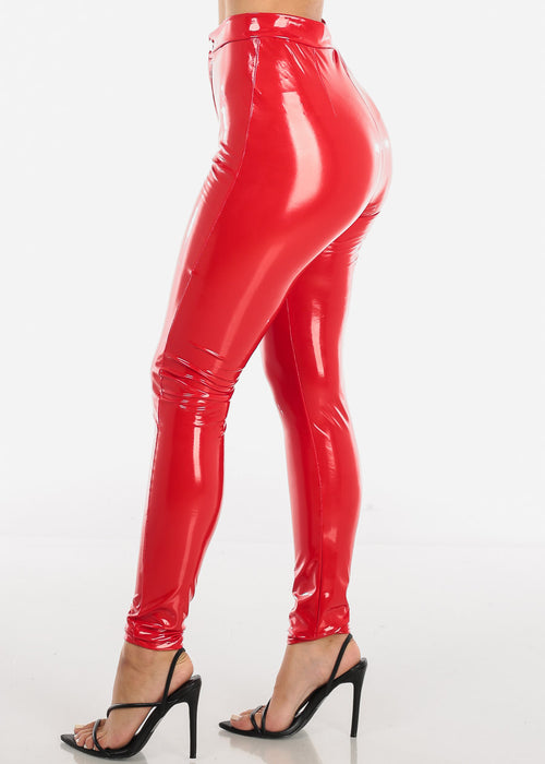 Glossy Pleather Red Pants