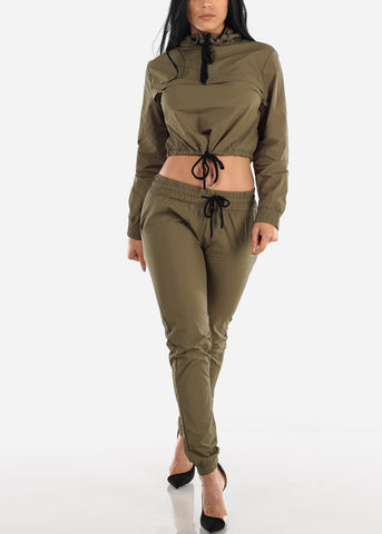 Olive Windbreaker Jacket & Pants (2 PCE SET)
