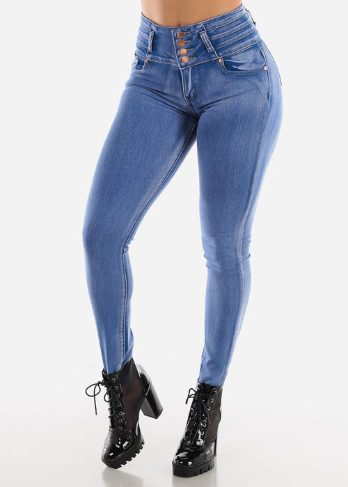Butt Lifting High Rise Bleach Wash Skinny Jeans