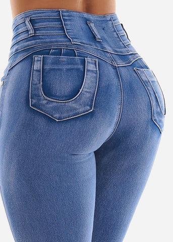 Image of Butt Lifting High Rise Bleach Wash Skinny Jeans