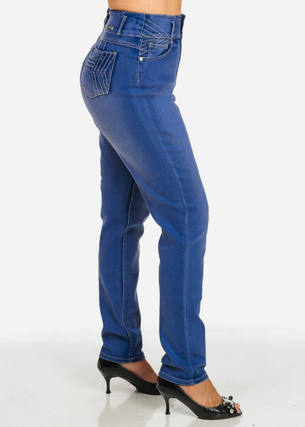 Plus Size High Waisted Butt Lifting Blue Skinny Jeans