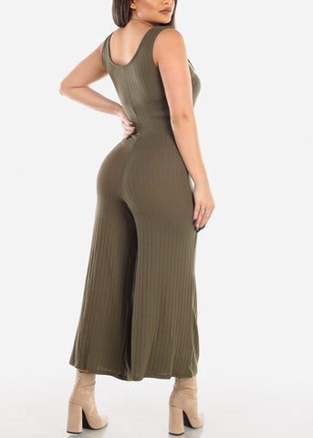 Image of Olive Jumpsuit Wide Legged