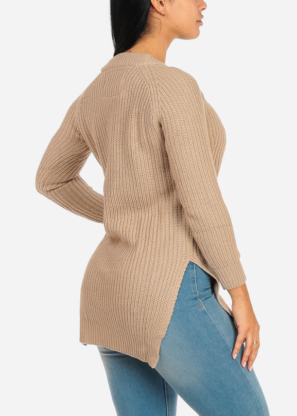 Cozy Knitted Khaki Sweater