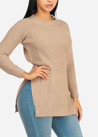 Image of Khaki Knitted Cozy Sweater