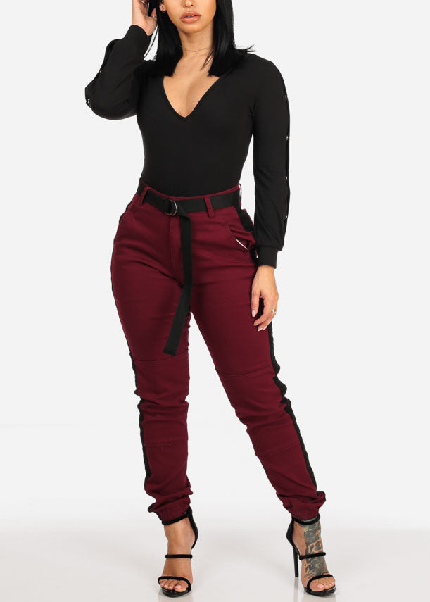Belted High Rise Burgundy Stripe Jogger Pants