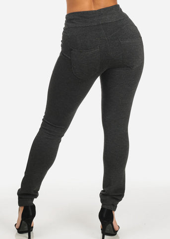 High Waist Butt Lifting Charcoal Skinny Pants