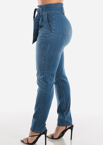Image of Super High Rise Medium Wash Skinny Jeans