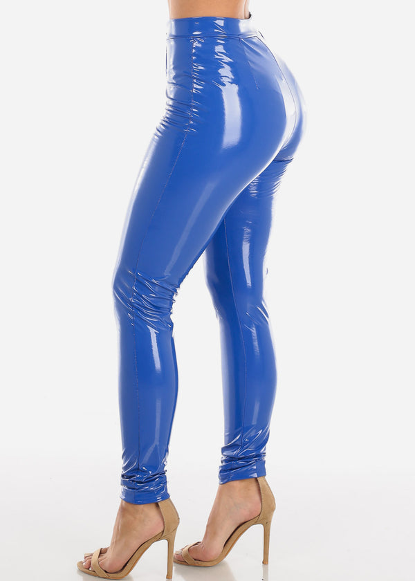 Glossy Pleather Royal Blue Pants