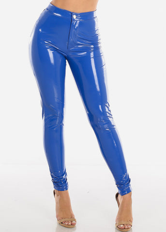 Image of Glossy Pleather Royal Blue Pants