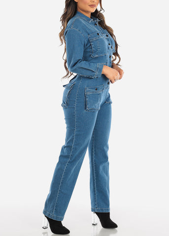 Image of Med Wash Boiler Denim Jumpsuit