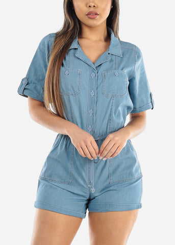 Image of Short Sleeve Light Wash Romper